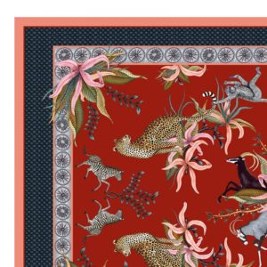 Tablecloth SQ – Leopard Lilly Royal Red