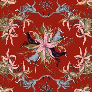 Tablecloth – Leopard Lilly Royal Red