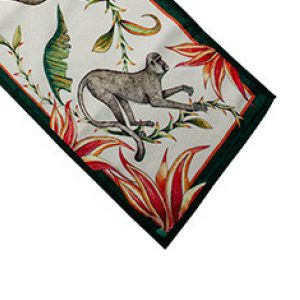 Table Runner Monkey Paradise in Chalk