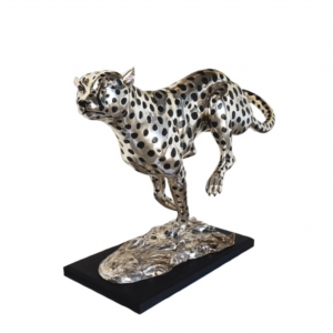 Large Silver Cheetah Running